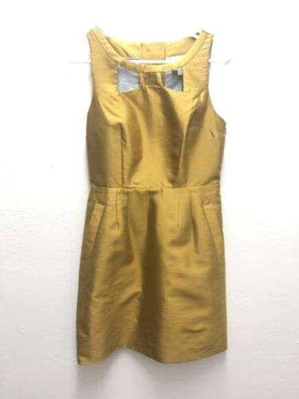Anthropologie Dresses & Skirts - Anthro MAEVE 4 Bow Cut Out Chardonnay Sheen Dress
